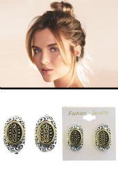 72 Units of Swirl Pattern 2000 Half Loop Clip On Earrings Silver Tone - Earrings