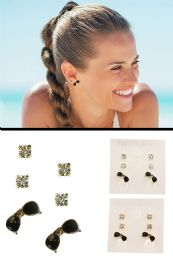 72 Units of Sunglasses Trio Earring Set With Crystal Accents Black And Silver Tone - Earrings