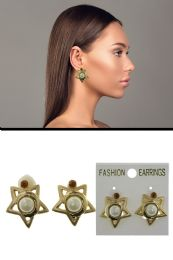 72 Units of Star Imitation Pearl Crystal Accent Clip On Earrings Gold Tone - Earrings