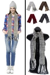 24 Units of Checkered Pattern Winter Scarf in Assorted Colors - Winter Scarves