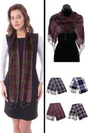 24 Units of Plaid Fashion Scarf in Assorted Colors - Winter Scarves
