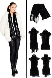 24 Units of Black Knit Winter Fashion Scarf - Winter Scarves