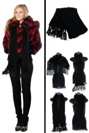 24 Units of Black Knit Winter Scarf - Winter Scarves
