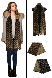 24 Units of Brown Reversible Fashion Scarf - Winter Scarves