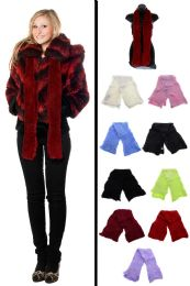24 Units of Fuzzy Fashion Winter Scarf in Assorted Colors - Winter Scarves