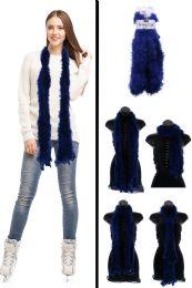 24 Units of Fuzzy Blue Fashion Scarf - Winter Scarves