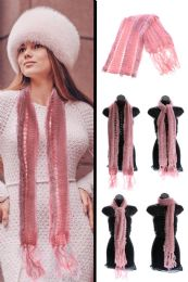 24 Units of Pink Knit Winter Scarf - Winter Scarves