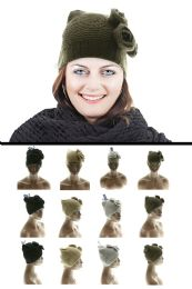 36 Units of Acrylic Knit Hat With Knit Flower Accents - Fashion Winter Hats
