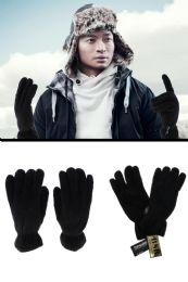 12 Units of Black Fleece Insulated Winter Gloves - Fleece Gloves