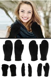 24 Units of Black Genuine Leather Mittens - Leather Gloves