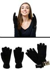 24 Units of Black Insulated Winter gloves - Fleece Gloves