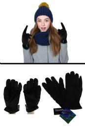 36 Units of Black Insulated Winter Gloves with Textured Grip - Fleece Gloves