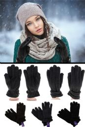 24 Units of Black Winter Gloves with Gold Tone Accents - Fleece Gloves