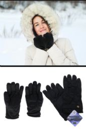 36 Units of Black Winter Gloves with Textured Grip - Fleece Gloves