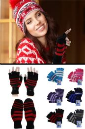 72 Units of Colorful Knit Convertible Mittens - Fuzzy Gloves