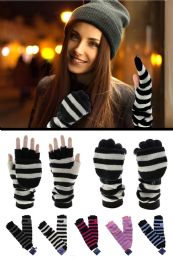 36 Units of Extra Long Knit Convertible Mittens - Fuzzy Gloves