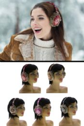24 Units of Faux Fur Lined Earmuffs With Snowflake Design - Ear Warmers