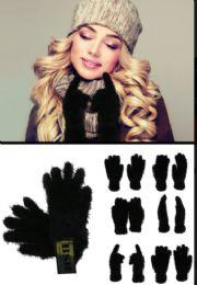 72 Units of Fuzzy Black Fashion Gloves - Fuzzy Gloves
