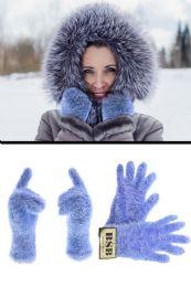 72 Units of Fuzzy Blue fashion Winter Gloves - Fuzzy Gloves
