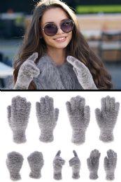 72 Units of Fuzzy Gray Fashion Winter Gloves - Fuzzy Gloves