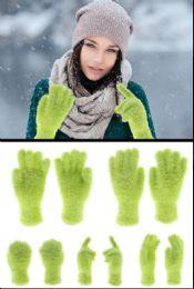 72 Units of Fuzzy Green Fashion Gloves - Fuzzy Gloves