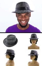 24 Units of Herringbone Pattern Faux Leather Brim Fedora - Fedoras, Driver Caps & Visor