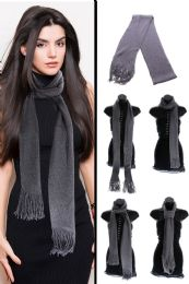 36 Units of Gray Winter Scarf with Silver Metallic Threads - Winter Scarves