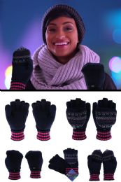 48 Units of Knit convertible mittens in assorted colors - Winter Gloves