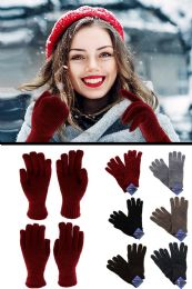 48 Units of Knit Fashion Gloves in Assorted Colors - Winter Gloves
