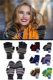 48 Units of Knit Convertible Winter Mittens in Assorted Colors - Winter Gloves