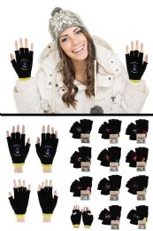 48 Units of Knit Fingerless Gloves with Zodiac Emblem - Winter Gloves