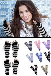 36 Units of Knit Fingerless Gloves in Assorted Colors - Winter Gloves