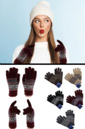 36 Units of Knit Winter Gloves In Assorted Colors - Knitted Stretch Gloves