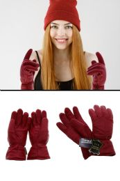 12 Units of Red Leather Insulated Winter Gloves - Leather Gloves