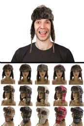 12 Units of Sizes Vary Knit Snowflake Pattern Trapper Hat - Trapper Hats