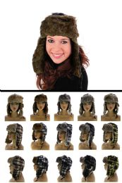 12 Units of Sizes Vary Plaid Synthetic Fur Lining Trapper Hat - Trapper Hats