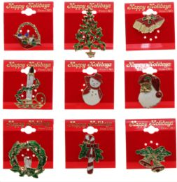 72 Units of Christmas Pin Assortment - Christmas Decorations