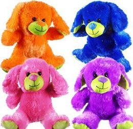 "60 Units of 10"" Plush Colorful Dogs - Plush Toys"
