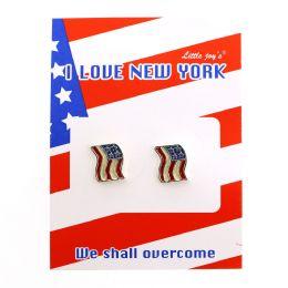 96 Units of 911 COMMEMORATIVE FLAG EARRING - Earrings