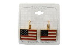96 Units of American Flag Dangle Earrings - Earrings