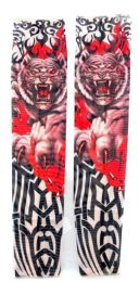 36 Units of Wearable sleeve with tribal in the background of a tiger with red color accent tattoo design - Costumes & Accessories