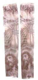 36 Units of Wearable Sleeve With Jesus Face Praying Hand And A Cross Tattoo Design - Costumes & Accessories