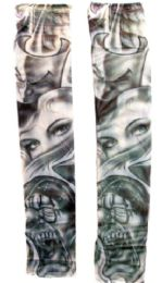 36 Units of Wearable Sleeve With A Woman's Face Between The Laugh Now Cry Later Masks Tattoo Design - Costumes & Accessories