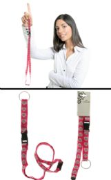 96 Units of Lanyard With Detachable Split Ring Key Chain With Small Skull And Cross Bones Within A Heart Icons - Id card