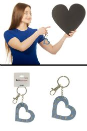 96 Units of Metallic Blue Colored Heart Keychain - Key Chains
