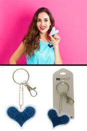 96 Units of Blue Glitter Heart Key Chain - Key Chains