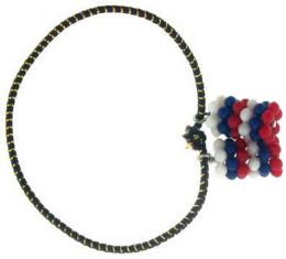 192 Units of Pony Tail Elastic Band With Red White Blue Acrylic Beads - 4th Of July