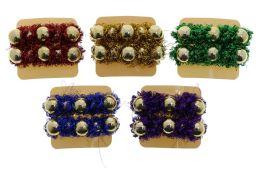 96 Units of Colorful Christmas Garland Barrettes - Christmas Decorations