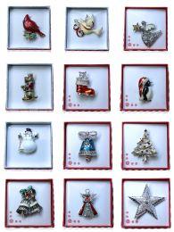 24 Units of Christmas Holiday Pin Gift Box Assortment - Christmas Decorations