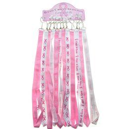 36 Units of Breast Cancer Awareness Lanyard Keychains Pink And White - Breast Cancer Awareness Socks